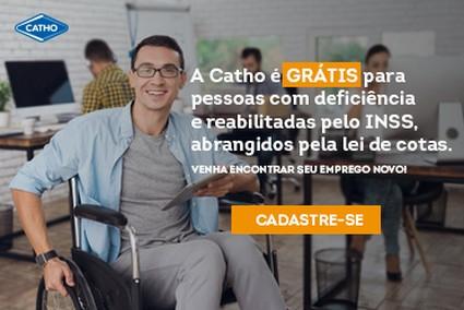 A Catho é grátis para pessoas com deficiência e reabilitados pelo INSS, abrangidos pela lei de cotas. Cadastre-se